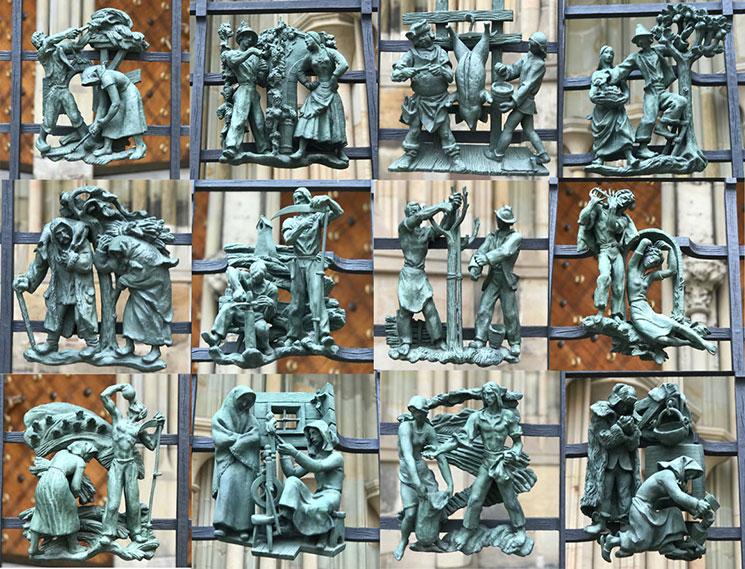 黄金の門 鉄柵にある12体のブロンズ像