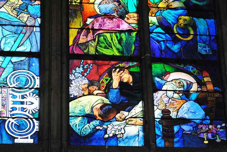 アルフォンス・ムハの作品「聖キリルと聖メトディウス」の右下部分