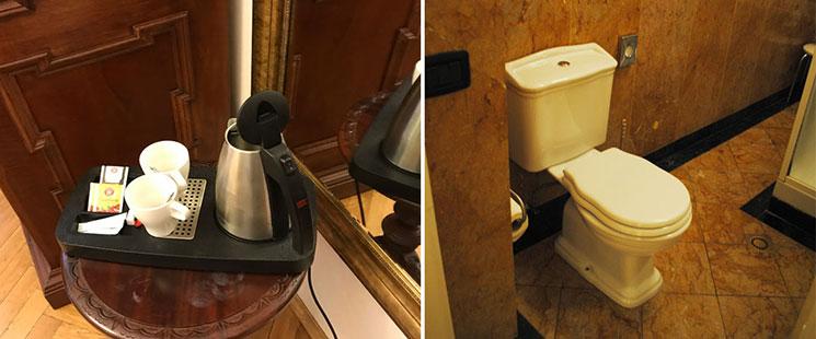 左の写真がケトルとコーヒー、お茶のティーパックです。右がバスルーム内のトイレの写真です。