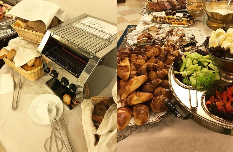 朝食ビュッフェのパン