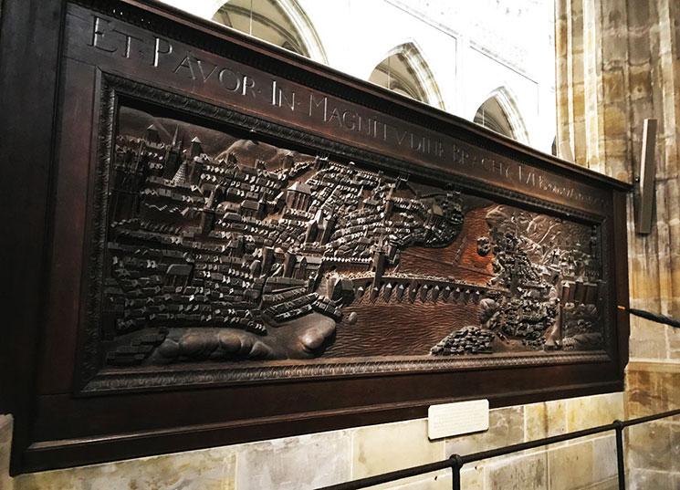 プファルツ選帝侯 フリードリヒ5世のプラハ逃亡を描いた木製レリーフ