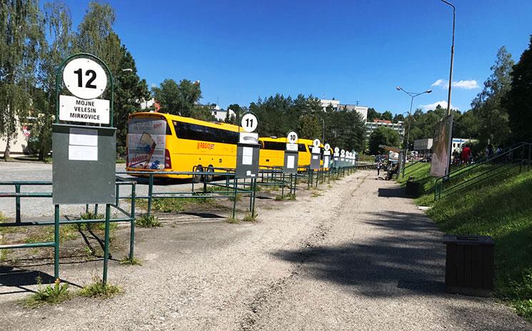 チェスキークルムロフの東側に位置するバス乗り場「Český Krumlov an」