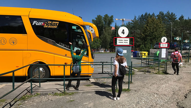Český Krumlov anのバス乗り場