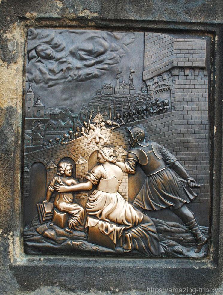 聖ヤン・ネポムツキー像の土台 右側