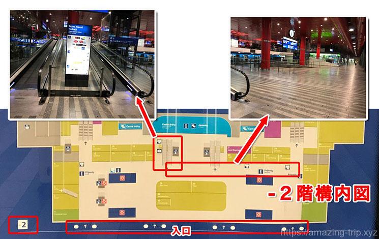 プラハ本駅の構内図とエスカレーター