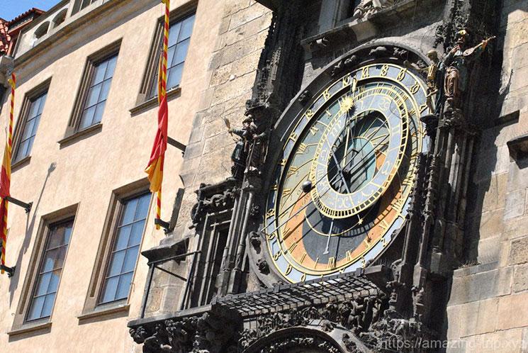 時計塔上側の天動説に基づく文字盤の時計「プラネタリウム」