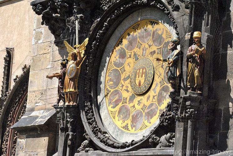時計塔下側の黄道12宮に基づく文字盤の時計「カレンダリウム」