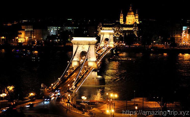王宮の丘から撮影したくさり橋の夜景