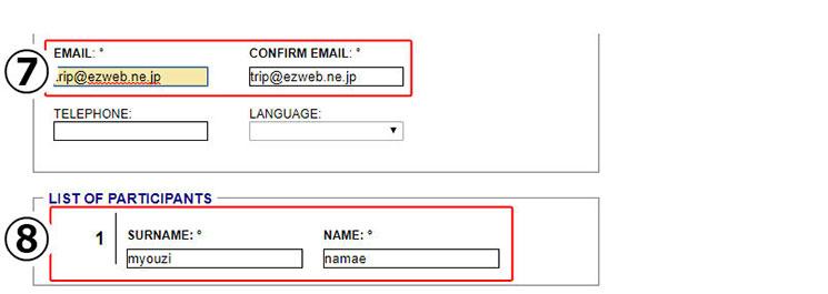 「図表8」メールアドレスと利用者情報の入力