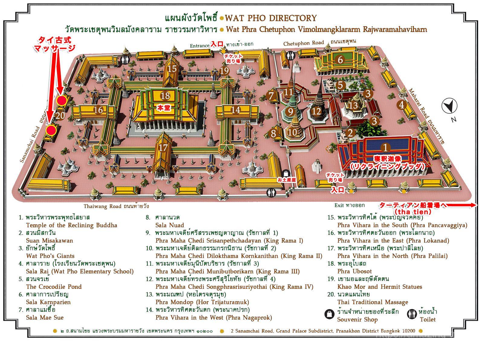 ワットポー寺院内マップ