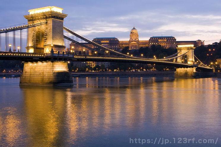 くさり橋のたもとからの夜景(ペスト地区側)