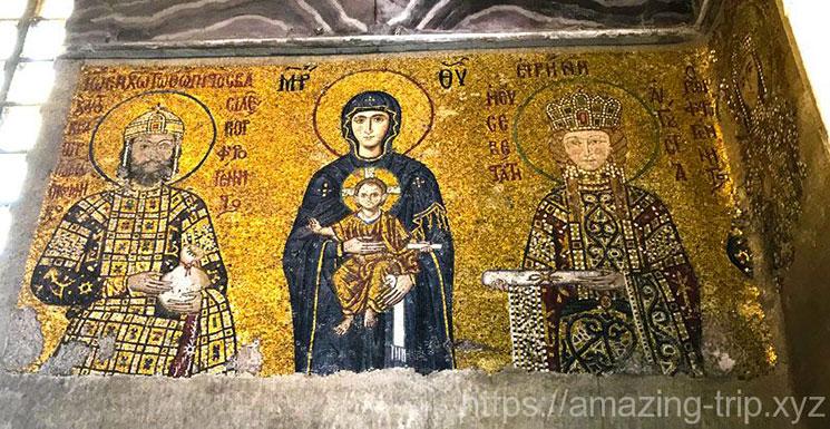 2階ギャラリーのモザイク画「聖母子と皇帝家族」