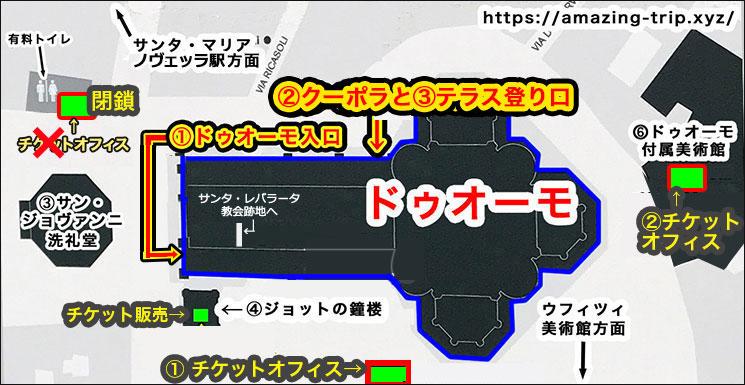 ドゥオーモ周辺マップと入場可能施設