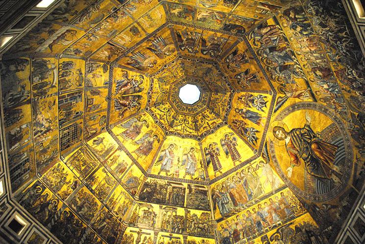 洗礼堂内部 天井のモザイク画
