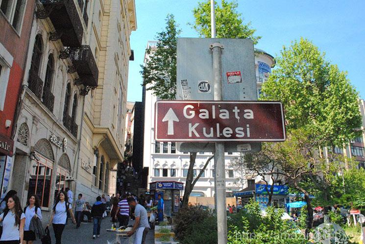 ガラタ塔の標識