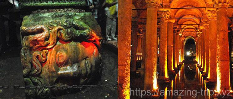 地下宮殿 メデューサーと内部の景観