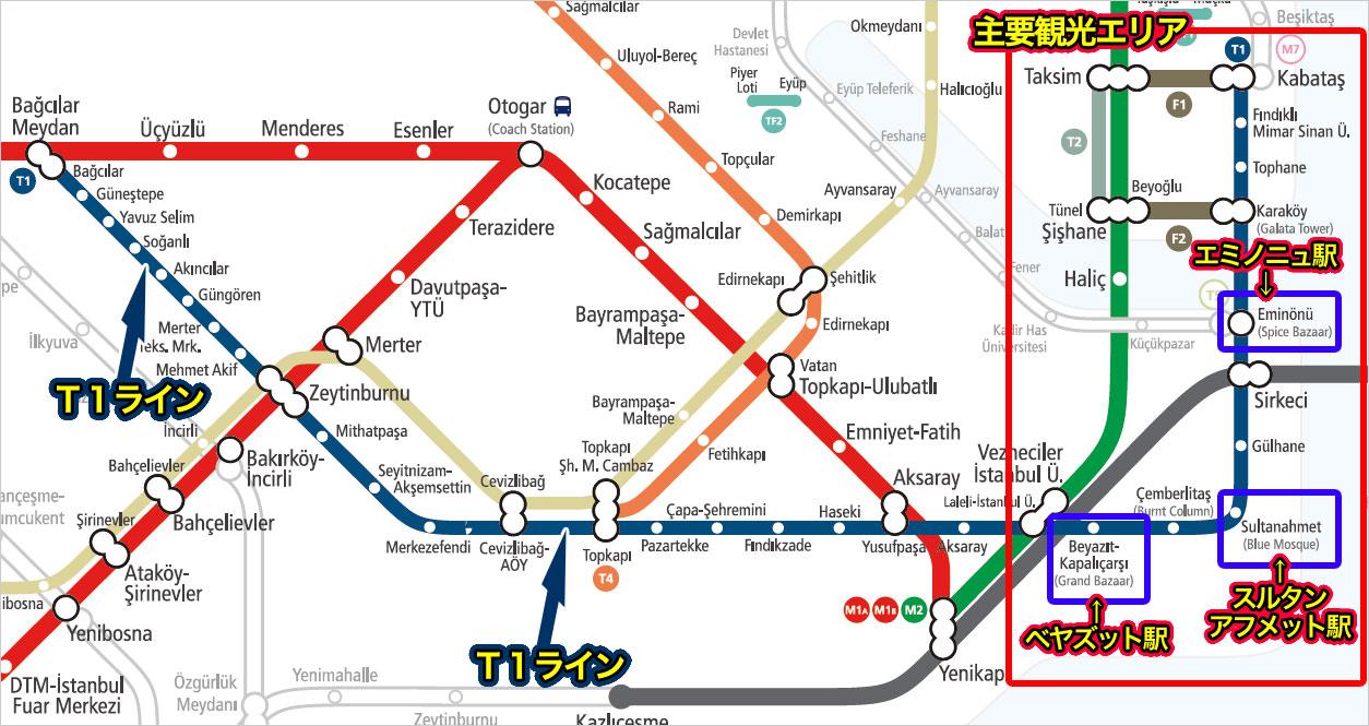 T1の運行路線図
