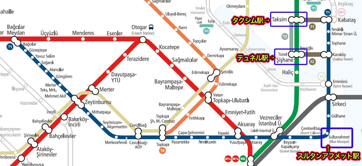 T2の運行路線図