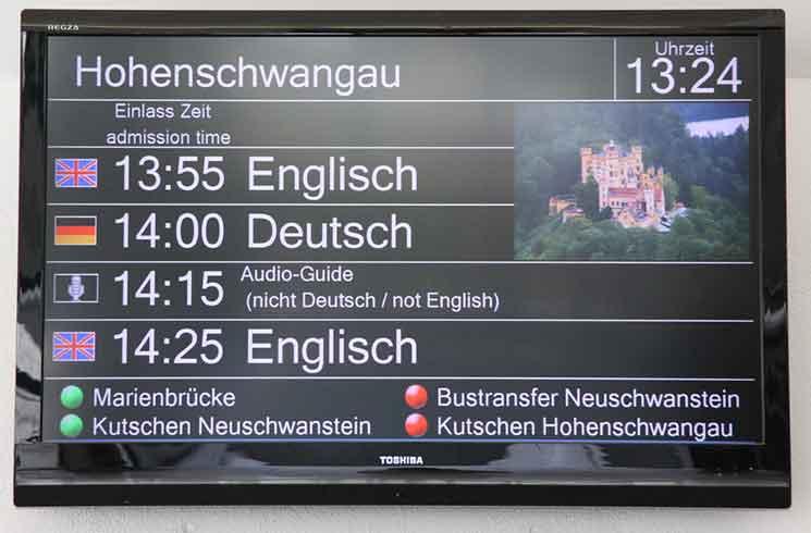 ノイシュヴァンシュタイン城 入り口の電光掲示板