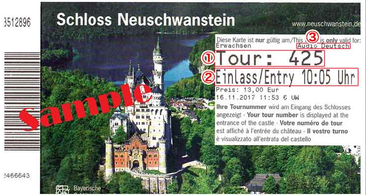 ノイシュヴァンシュタイン城のチケット
