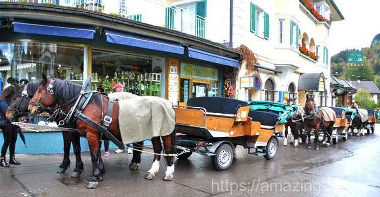 ミュラーホテル前の馬車乗り場と馬車