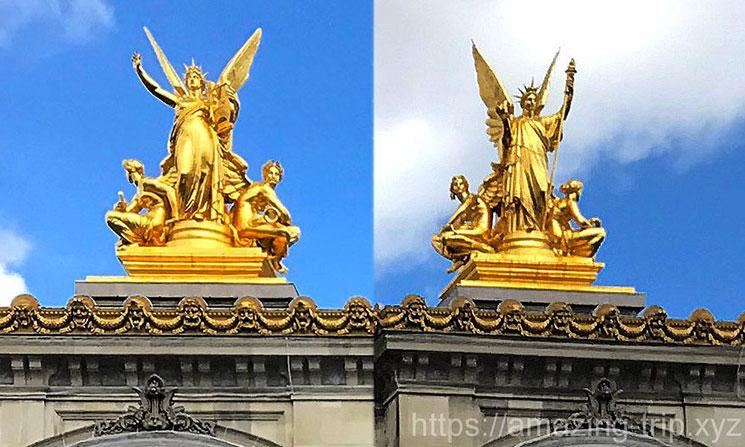 ギュメリー作の金の彫像「詩」と「ハーモニー」