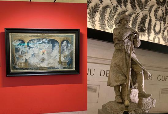 凱旋門内の展示絵画と彫像