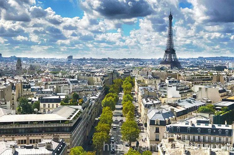 凱旋門のテラスから見るパリ市内の景観