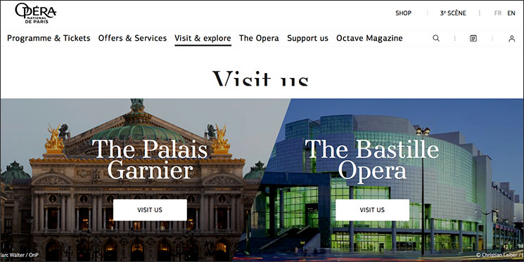 オペラ・ガルニエの公式ツアー予約サイト
