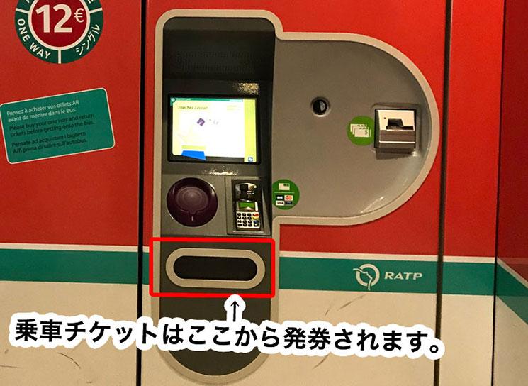 自動券売機の発券場所