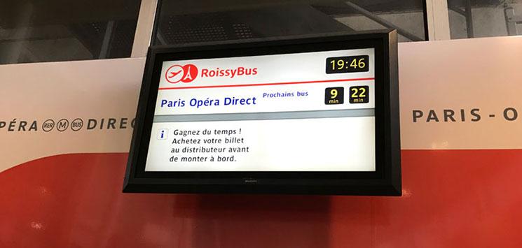 Roissy Bus(ロワシーバス) 待合室のモニター