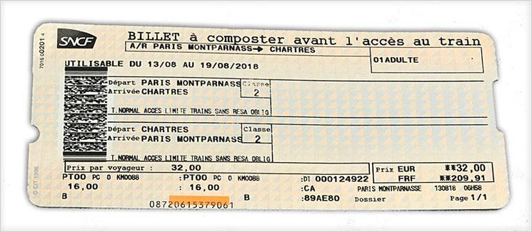 フランス国鉄(SNCF)乗車チケット