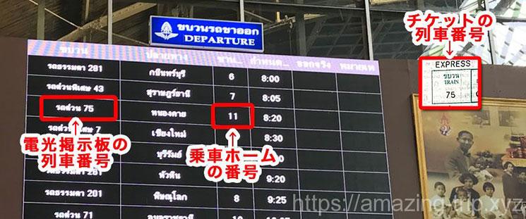 アユタヤ行き列車の車両番号