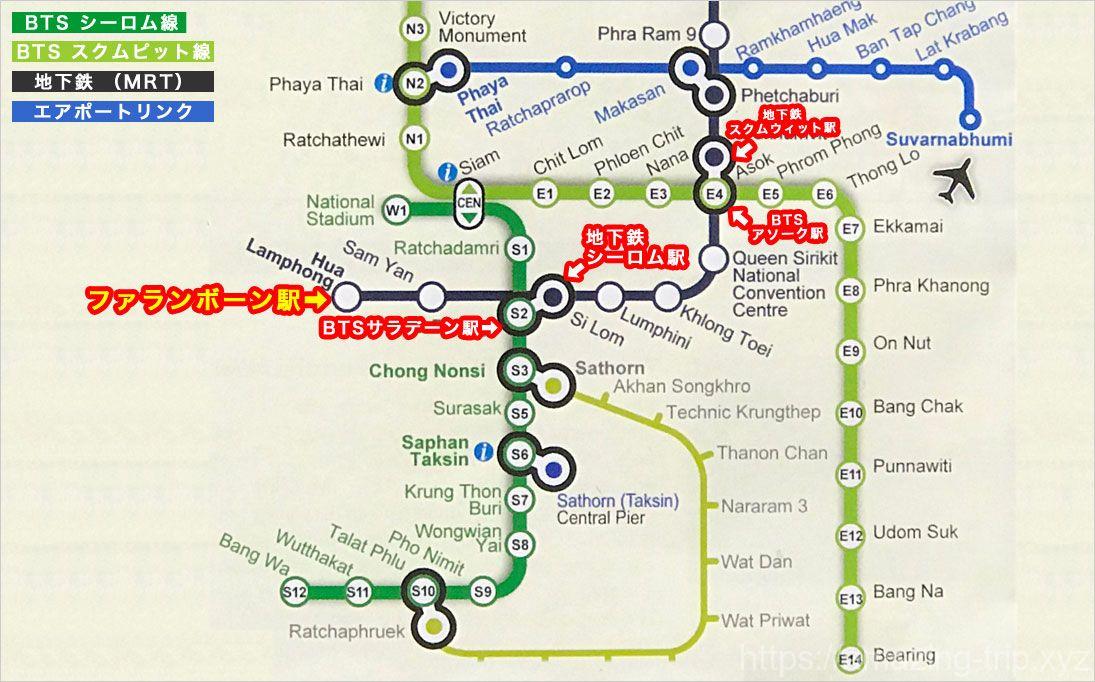 バンコク 電車の路線図