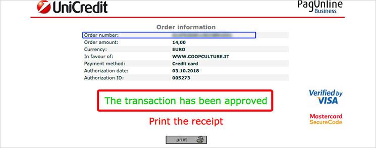 クレジットカードの決済完了画面