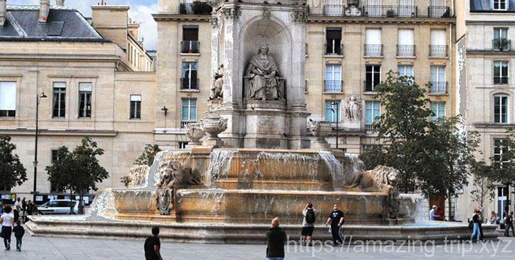 サン・シュルピス教会前広場の四方位の泉(噴水)