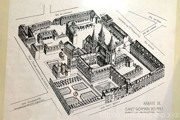 数百年前のサン・ジェルマン・デ・プレ教会のイメージ図