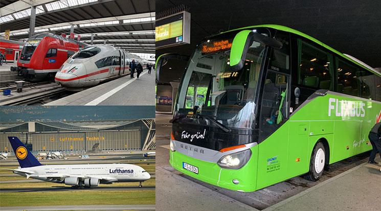 フランクフルトとミュンヘンの交通手段(列車、飛行機、バス)