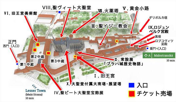 プラハ城の地図