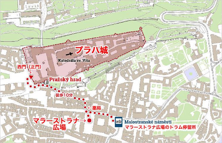 プラハ城への徒歩でのアクセスマップ