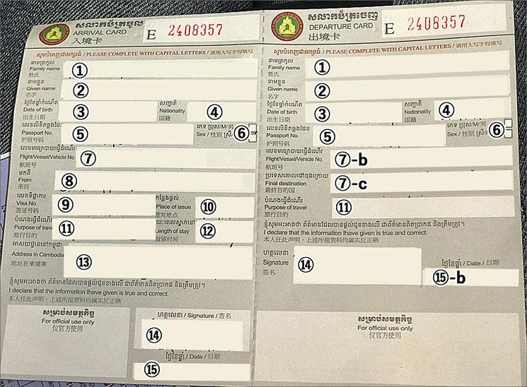 カンボジアの入出国カード