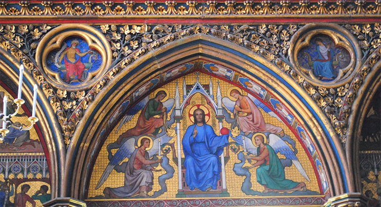 バラ窓下部 キリストのフレスコ画