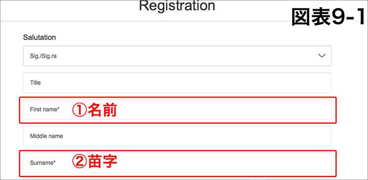「図表9-1」会員登録 名前と苗字の入力画面