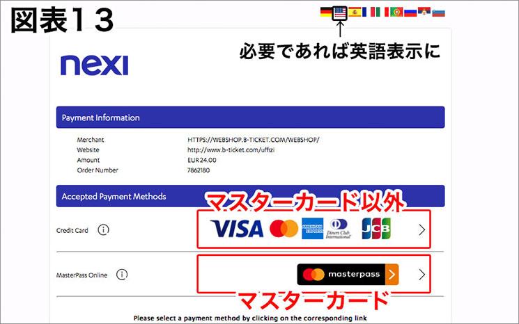 クレジットカードの選択画面