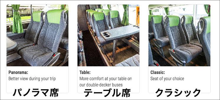 FlixBusの座席タイプ