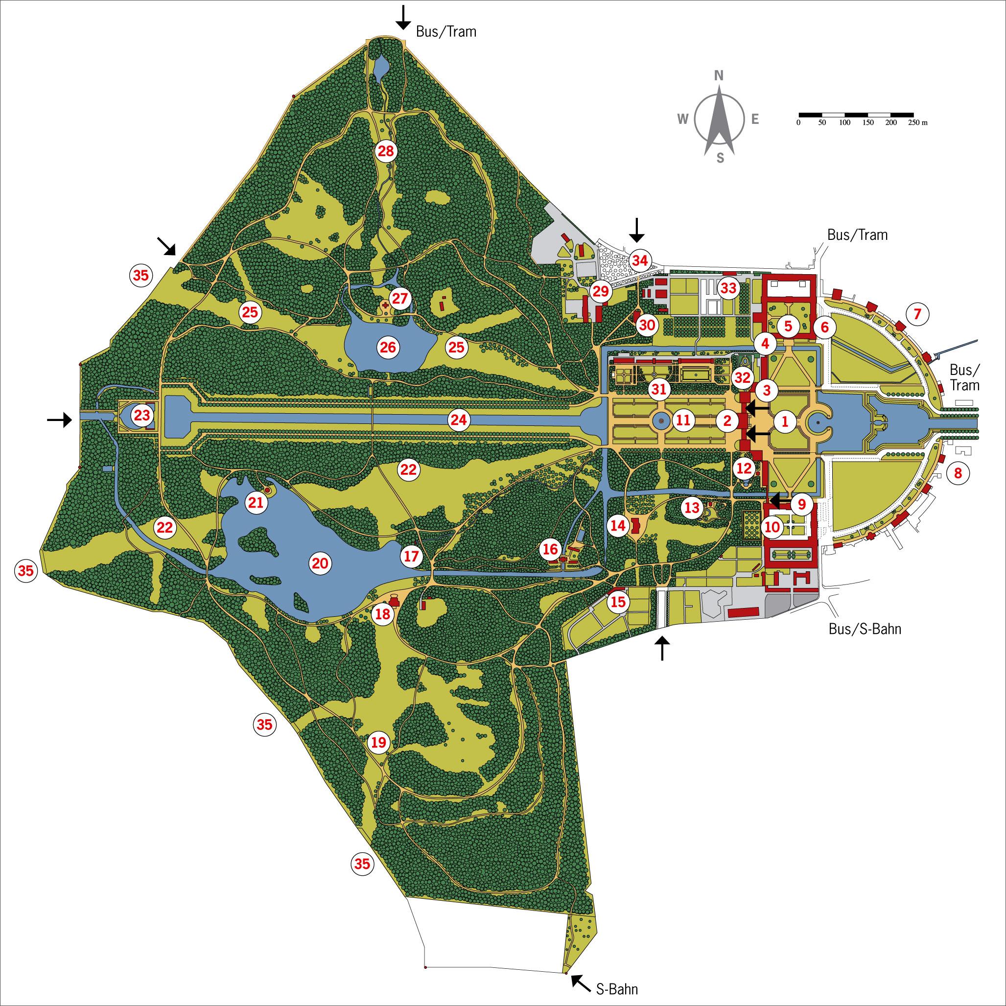 ニンフェンブルク城 敷地内マップ