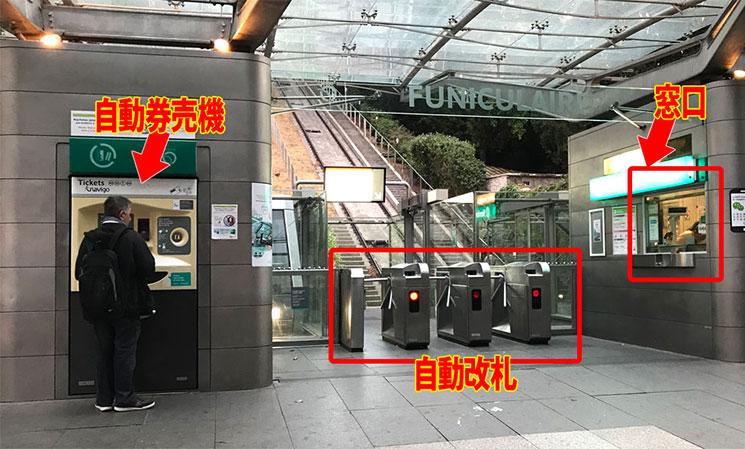 ケーブルカー乗り場の改札と自動券売機