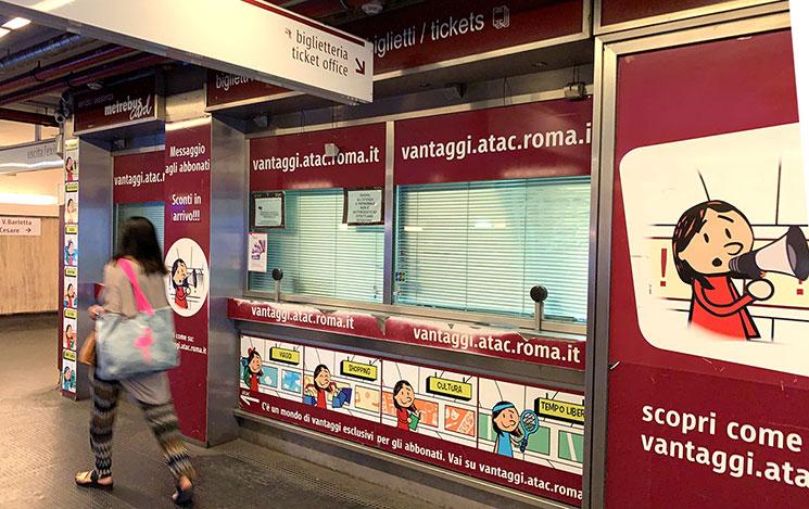 テルミニ駅構内 公共交通会社「ATAC(アタク)」のチケットオフィス