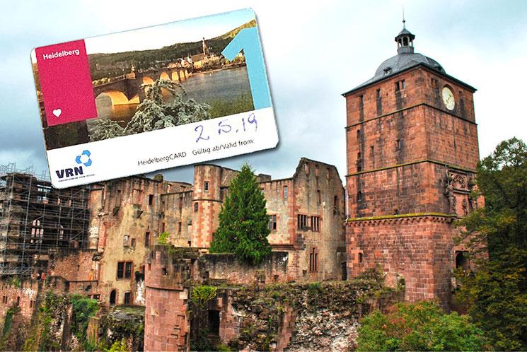 ハイデルベルクカードとハイデルベルク城内の景観