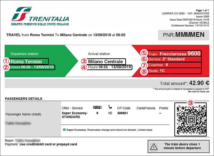 Trenitalia(トレニタリア)のオンラインチケット